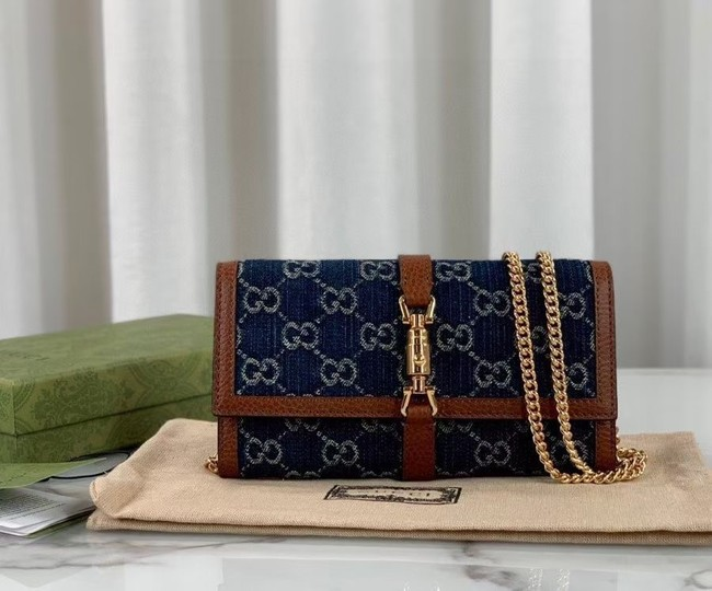 Gucci Jackie 1961 chain wallet denim 652681 blue